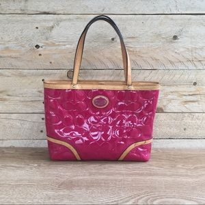 Coach Pink Embossed patent leather handbag